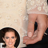 Adding some sweetness to the VMAs in an ivory beaded dress, Allison Williams went with a sheer beige manicure complete with dainty rings.