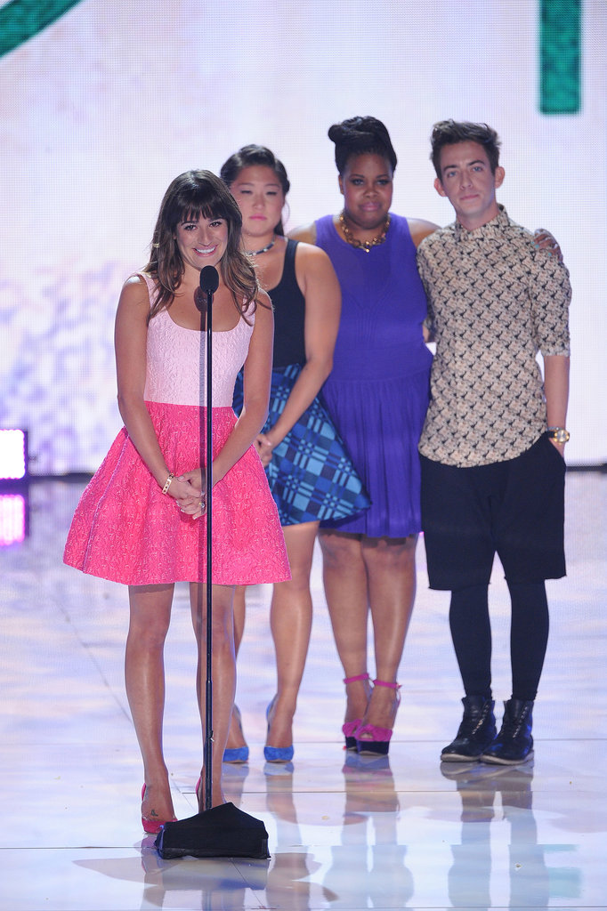 Michele was the picture of ladylike perfection in a colorblock Oscar de la Renta creation. The star was joined on stage by her Glee costars to accept her Teen Choice Award for best comedic actress in 2013.