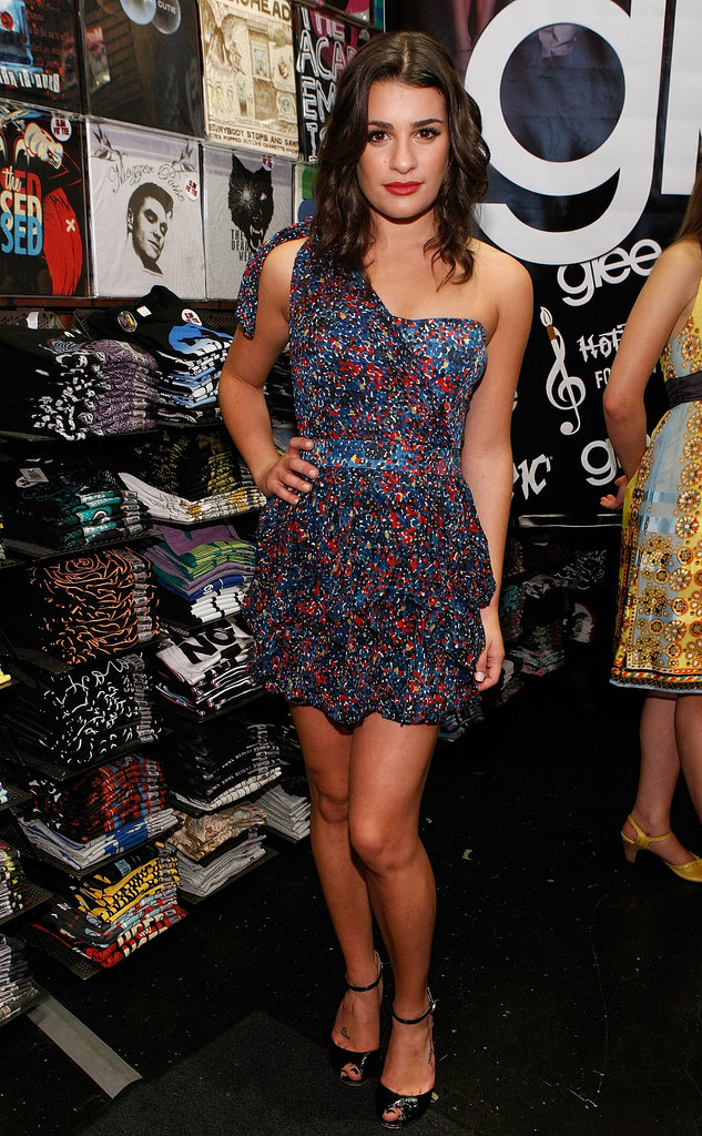Lea struck a sultry pose in a tiered liberty-print minidress and ankle-strap sandals for the LA stop of the Glee mall tour in August 2009.