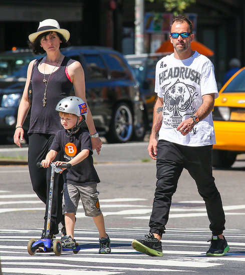 Jonny Lee Miller and family went out in NYC on Sunday.
