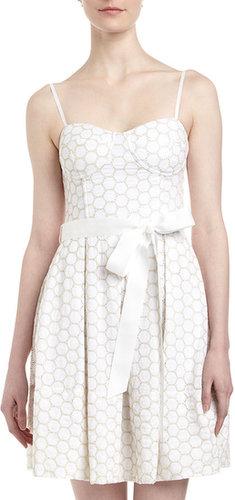 Isaac Mizrahi Eyelet Fit-and-Flare Dress