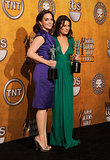 Lea Michele was joined by Tina Fey in the press room during the January 2010 SAG Awards in LA.