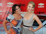 Lea Michele had a laugh with her Glee costar Dianna Agron at the show's premiere screening in LA in September 2009.