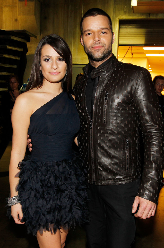 Lea Michele hung backstage with Ricky Martin at the Grammys in LA back in January 2010.