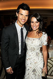 Lea Michele sported a huge grin while posing with Taylor Lautner at a Hollywood Foreign Press luncheon in LA in August 2011.