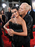 Lea Michele got a cute smooch from Glee creator Ryan Murphy at the red carpet premiere of their 3D concert movie in LA in August 2011.