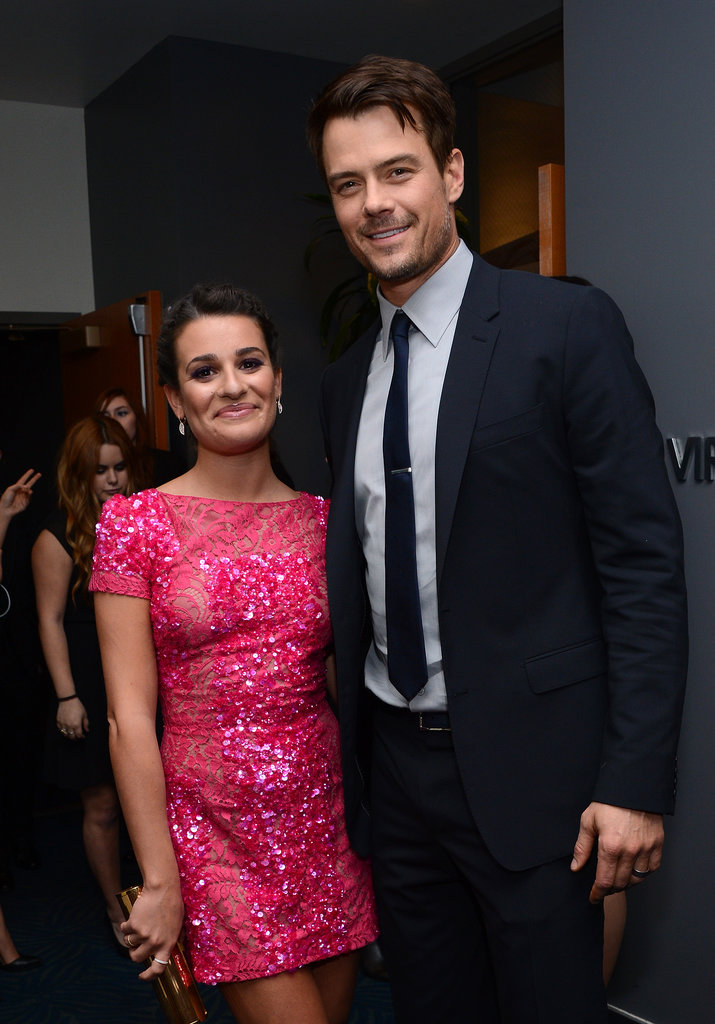 Lea Michele posed with Josh Duhamel backstage during the People's Choice Awards in LA in January 2013.