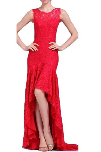 BCBG CLARISSA SLEEVELESS LACE HIGH-LOW GOWN RED