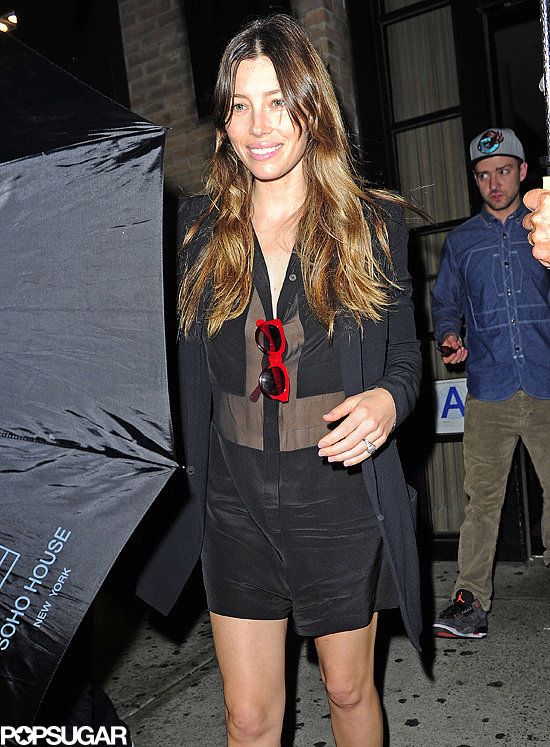 Jessica Biel wore a sheer romper for a night out with Justin Timberlake in NYC.