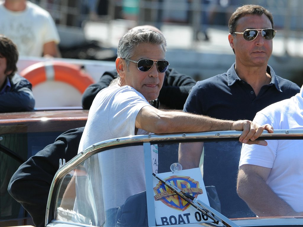 George Clooney rode a water taxi.