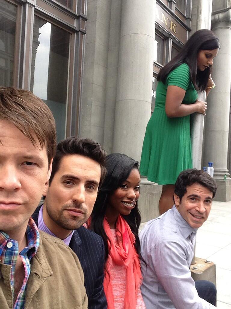 The cast stopped for an outdoor photo op. Source: Twitter user ikebarinholtz