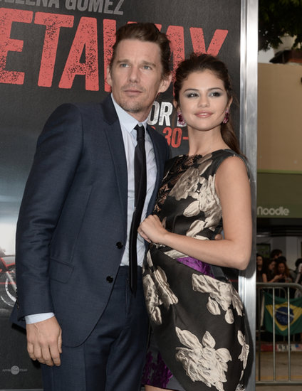 Selena Gomez posed with costar Ethan Hawke for the premiere of Getaway in LA.