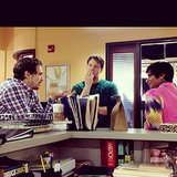 Kaling shared this candid moment of her with a pensive Barinholtz and Franco on the set. Source: Instagram user mindykaling