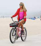 In August, Heidi Klum hit up the beach in LA on a bike.