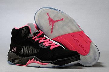 Female Jordan 5 (V )-White/Black/Pink NBA Shoes