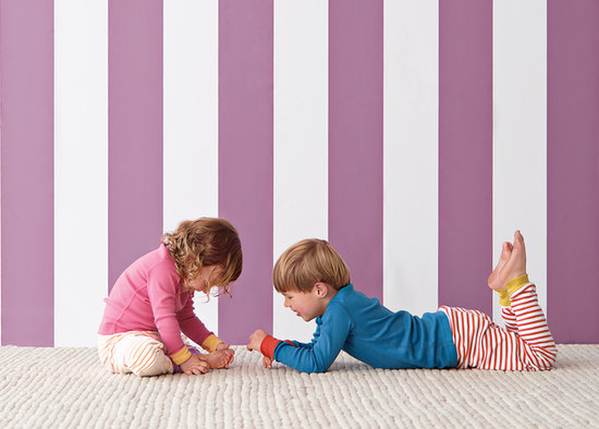 Wide Stripe Wallpaper — Plum ($88/roll)