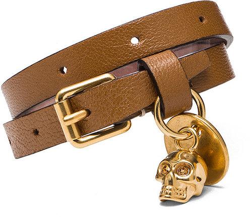 Alexander McQueen Skull Charm Double Wrap Bracelet in Camel