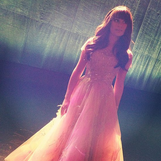 Lea Michele posed in a fairytale-inspired gown on the set of Glee. Source: Instagram user msleamichele
