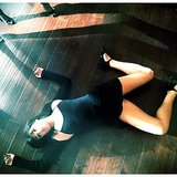 Lea Michele was pooped after a long day of dance rehearsals on the Glee set. Source: Instagram user msleamichele