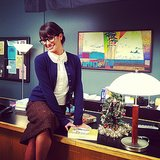 Lea Michele played the sexy secretary on set and shared this cute photo with fans. Source: Instagram user msleamichele