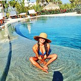 Lea Michele relaxed in the pool during a vacation in Cabo with girlfriends. Source: Instagram user msleamichele