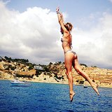 Doutzen Kroes shared this snap of her impressive jump into the ocean during a trip to Ibiza. Source: Instagram user doutzen