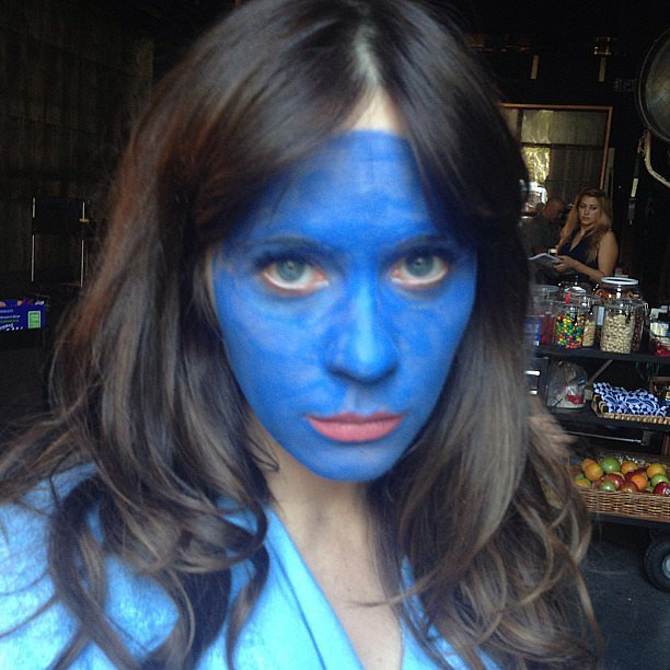 "Zooey Deschanel shared this photo from the set of New Girl with the caption, ""Weird job."" Source: Instagram user zooeydeschanel"