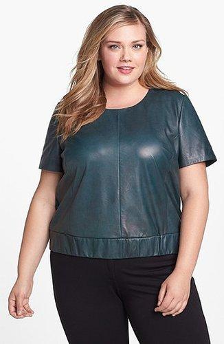 Halogen Leather & Ponte Knit Top (Plus Size) Green Bottle 16W