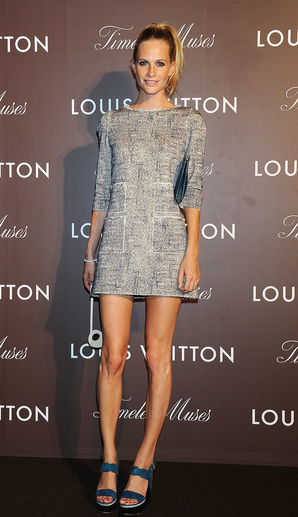 To open Louis Vuitton's Timeless Muses exhibition, Poppy Delevingne went minimalist in the label's muted shift.