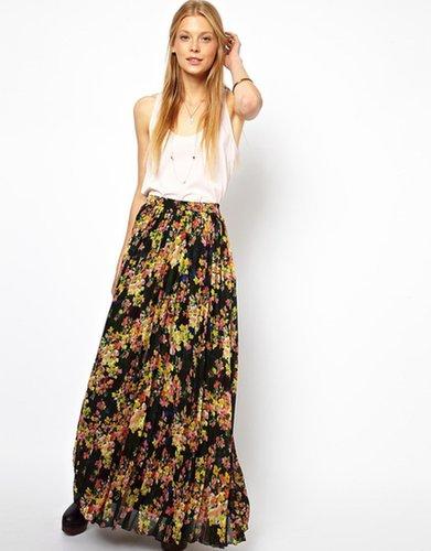 ASOS Printed Pleated Maxi Skirt