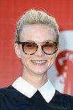 Carey Mulligan sported round sunglasses with glossy lips at the Miu Miu Women's Tales event at the Venice Film Festival.