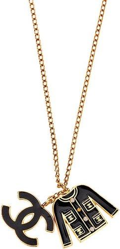 Chanel Vintage signature jacket and logo pendant necklace