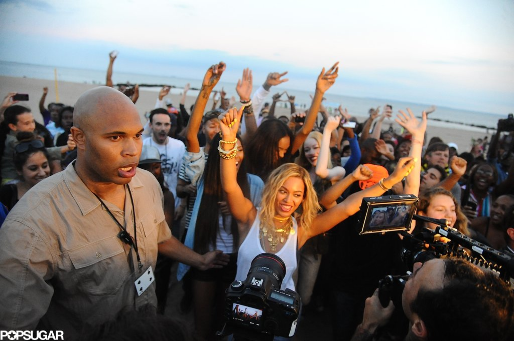 Beyoncé Knowles had fun shooting her video at the beach.