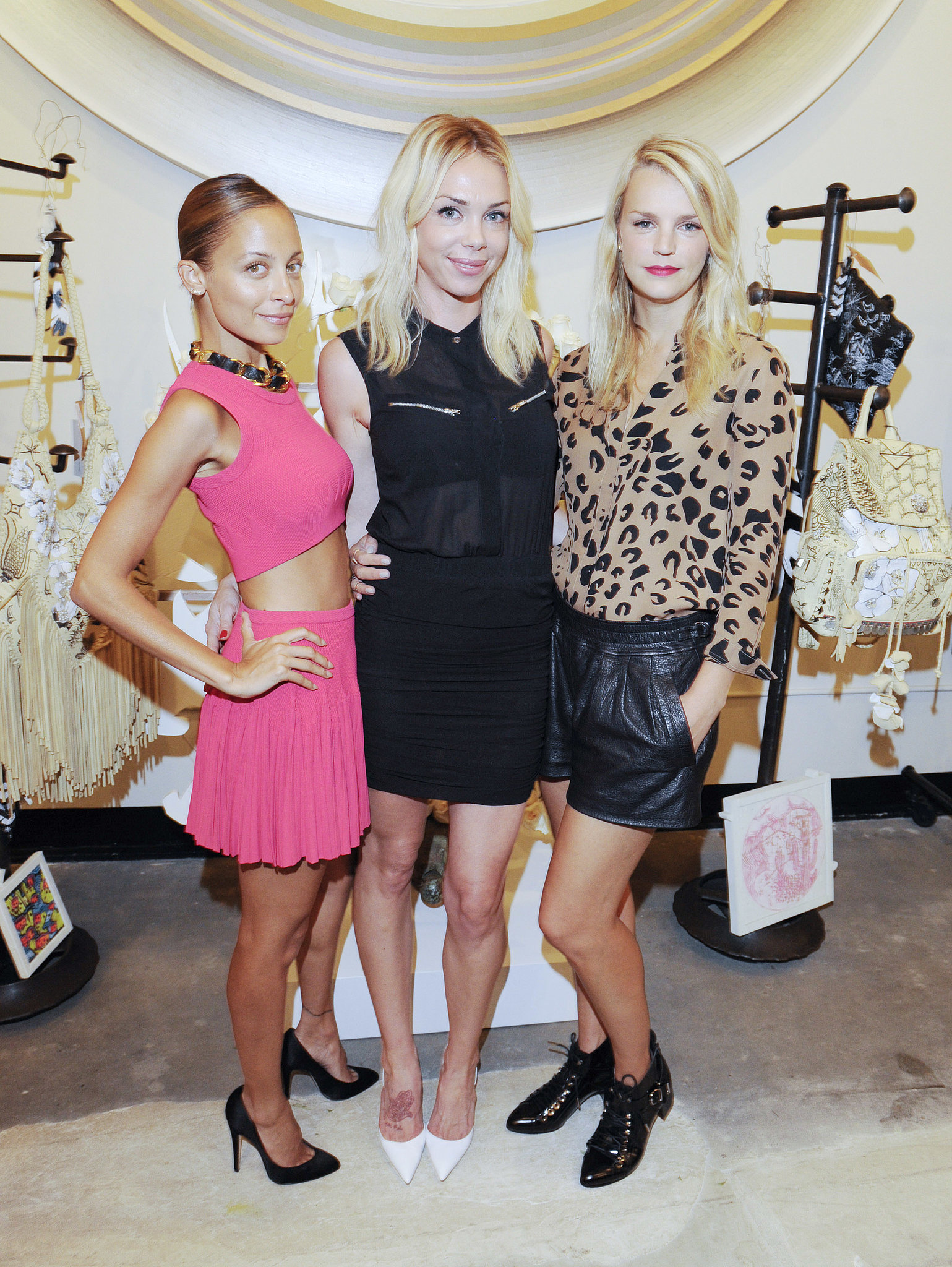 A pretty in pink Nicole Richie and Kelly Sawyer joined Simone Harouche at her trunk show in LA.