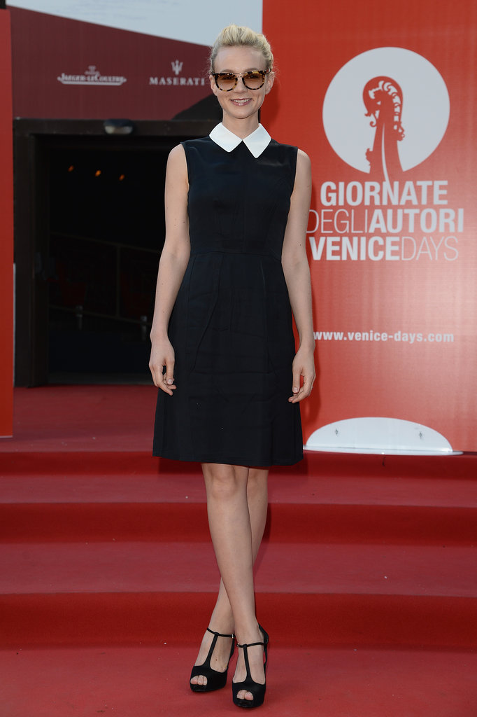 Carey Mulligan added cool shades and Roger Vivier T-straps to her conservative design while en route to the Miu Miu Venice Film Festival event.