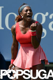 Serena Williams celebrated during her match.
