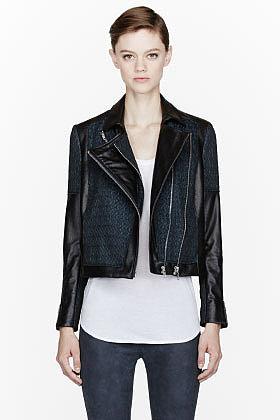 HELMUT LANG Green crosshatched Leather Biker Jacket