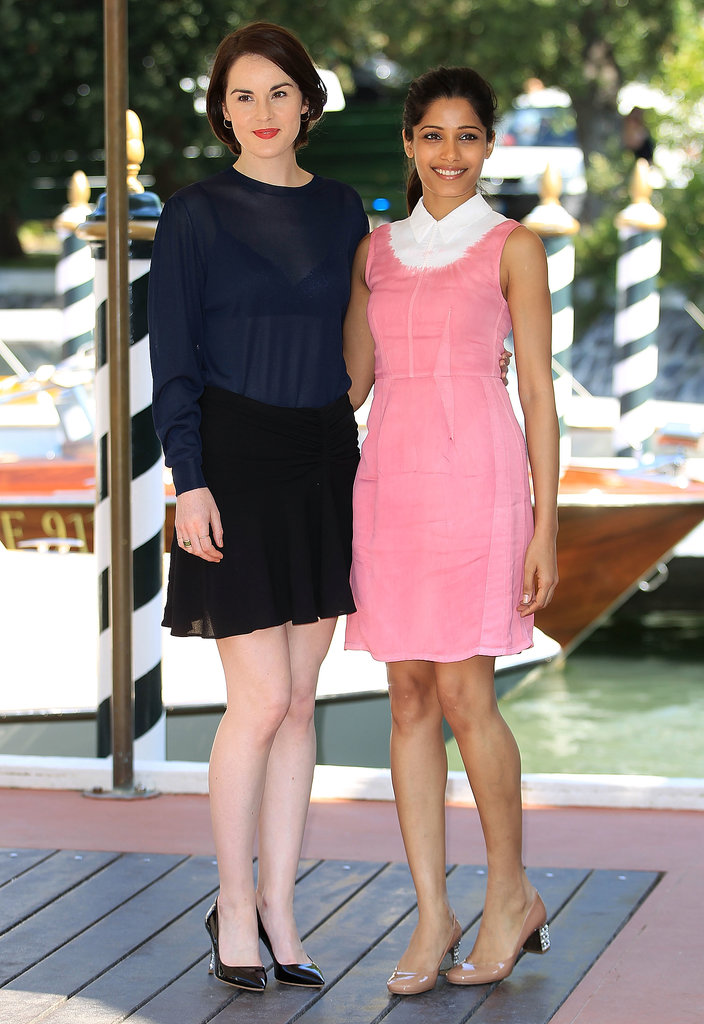 Michelle Dockery and Freida Pinto looked stunning and fresh at a photocall for Miu Miu's Women's Tales event.
