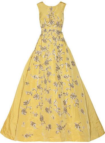Oscar de la Renta Embellished silk-faille gown