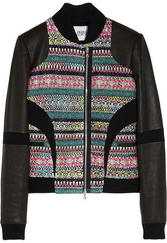 Prabal Gurung Leather-sleeved metallic tweed bomber jacket