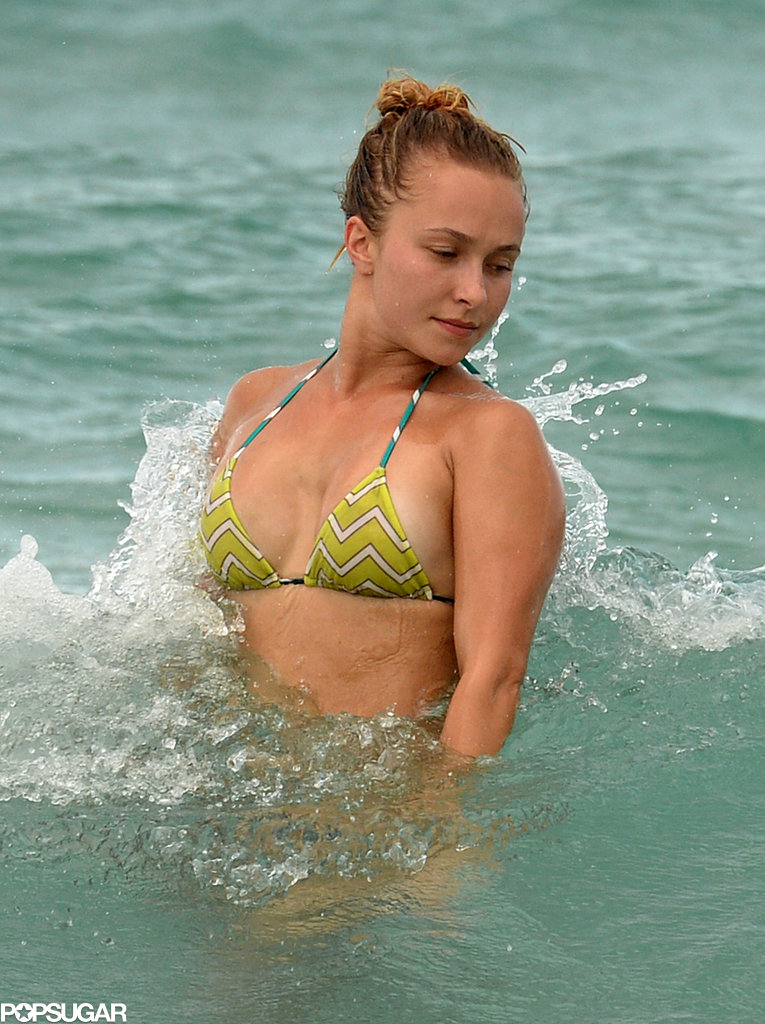 Hayden Panettiere soaked up some sun in a bikini while visiting Miami Beach.