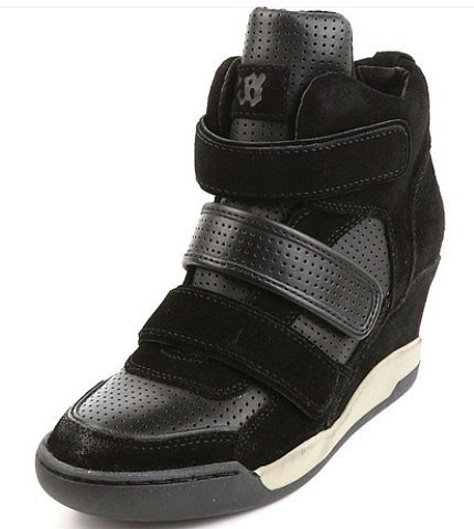 WOMENS ALEX BIS WEDGE SNEAKER BLACK LEATHER/BLACK SUEDE 330247 (002)
