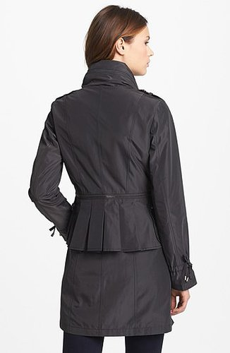 Laundry by Shelli Segal Peplum Back Raincoat with Hidden Hood