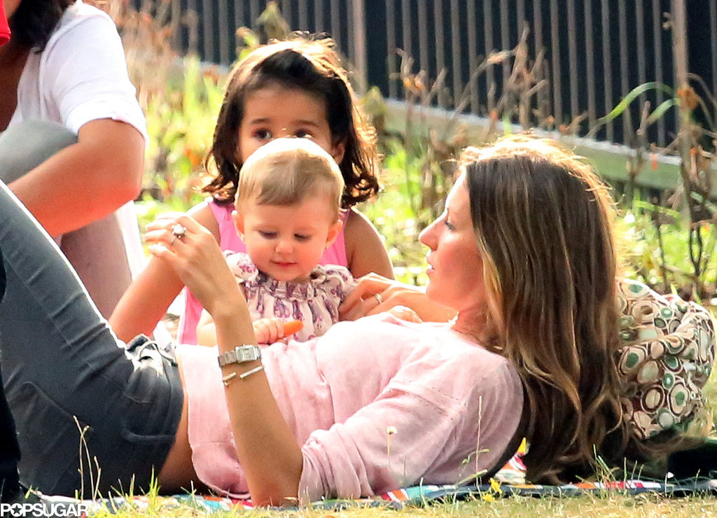 Gisele Bündchen squeezed in time at the park with her little ones in Boston, MA.