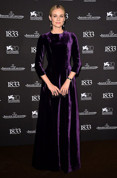 Diane Kruger wore a regal, long-sleeved purple velvet gown from Alberta Ferretti's Fall 2013 collection at dinner hosted by Jaeger-LeCoultre in Venice.
