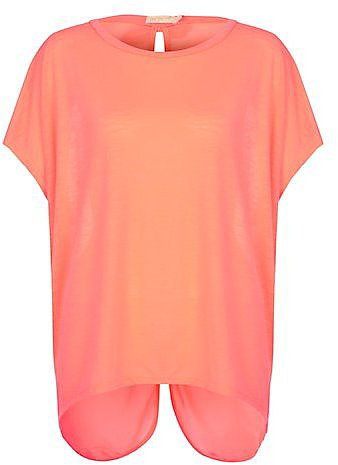 Misumi Coral Chiffon Button Back Top