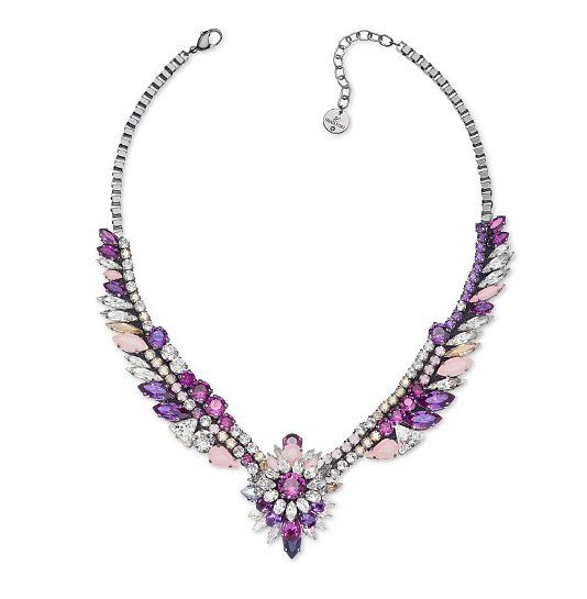 Pink and purple stones that mimic exotic plumage ($410) are ready to fuel any flights of fashion fantasy.
