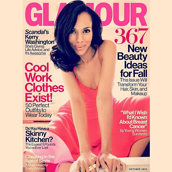 We're just as excited about Kerry Washington's October Glamour cover as she is!  Source: Instagram user kerrywashington