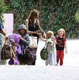 Angelina Jolie and her three kids walked through Santa Barbara over the long weekend.
