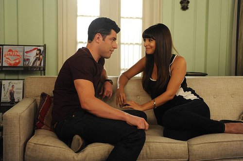 New Girl Cece and Schmidt share a moment.